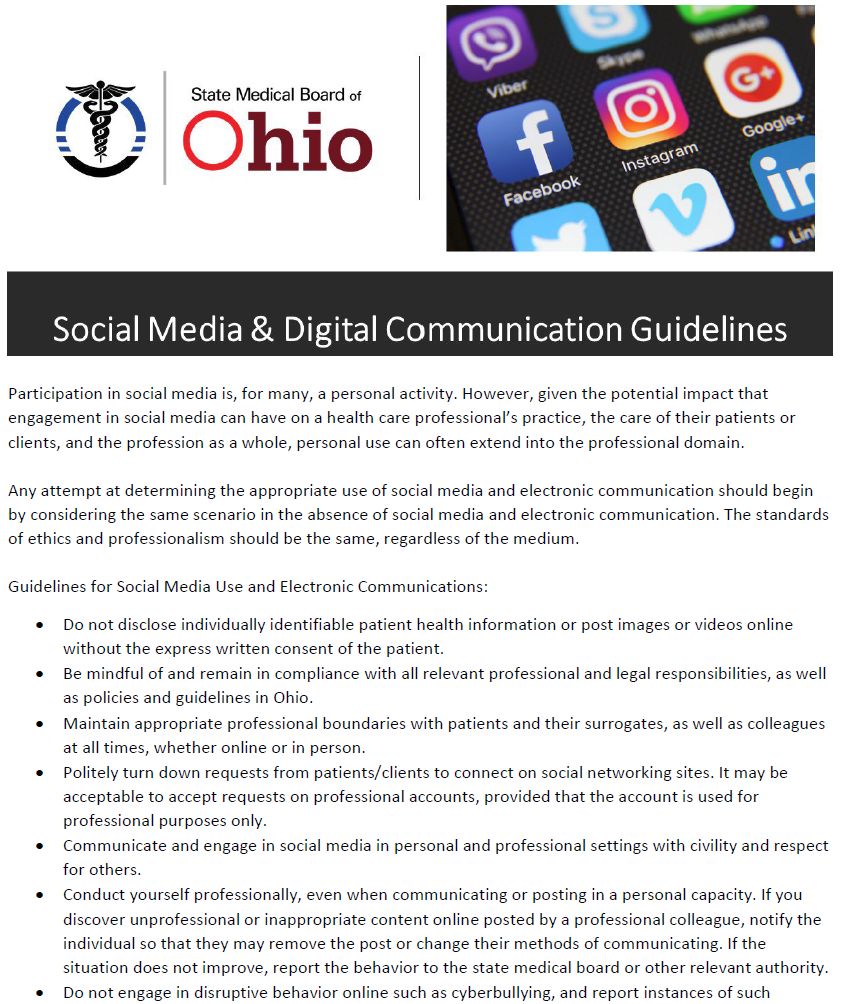 Click to print social media guidelines